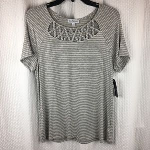 Kim Rogers Gray Stripe Top Criss Cross Accent Med